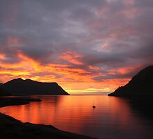 Sunset in Leirvik, Faroe Islands by Eiler Hansen