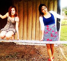 Wooden shack with my female models, posing. by rfran33