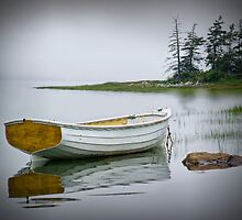 White Boat at Mt. Desert Island in Maine by Randall Nyhof