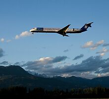 Airplane landing at Ljubljana Joze Pucnik Airport by Ian Middleton