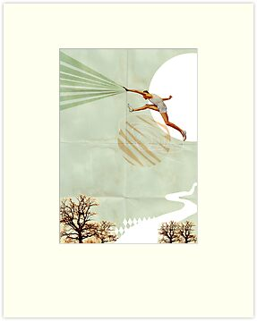 You can do it, Fine Art Collage Illustration, Athlete jumping by stibou