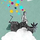 My happy place, Fine Art for Kids, Boy riding on Houseboatpropellerautocar by stibou