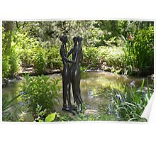 Sculpture of 3 ladies in shaded woodland garden Poster