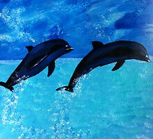 Jumping Dolphins by maggie326