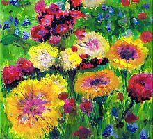 Floral and grasses mini oil painting on masonite by Regina Valluzzi