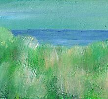 Serene Beach Grass, mini Oil painting on masonite by Regina Valluzzi