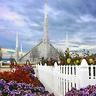 Boise Temple From the Garden 20x24 by Ken Fortie