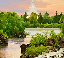 Idaho Falls Temple Morning Waterfall 20x30 by Ken Fortie