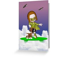 Up Up and Away .. the green avenger Greeting Card
