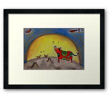Singing Moon Cows - original art by LeahG Framed Print