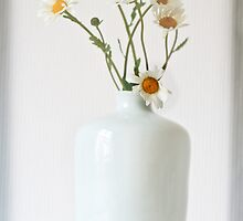 Daisies in a white vase by inkedsandra