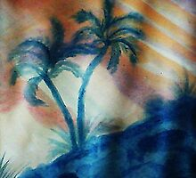 Palm Trees in the shadows of a falling sun( lighter version), watercolor by Anna  Lewis