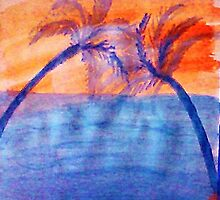 Palm tree Series #3 (lighter version), Over the Ocean, watercolor by Anna  Lewis
