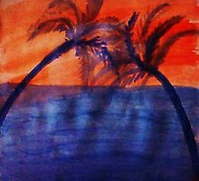 Palm tree Series #3 (darker  version), Over the Ocean, watercolor by Anna  Lewis