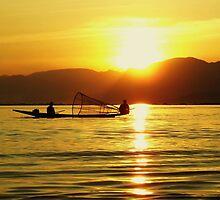 Fishing At Sunset On Inle Lake, Myanmar. by Liza Barlow