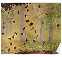 Falling autumn leaves Poster