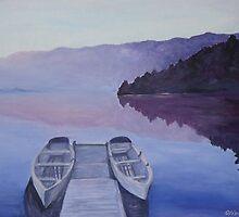 Boat bridge at dawn by olivia-art