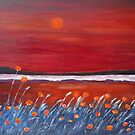 Poppy field with beach by olivia-art