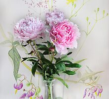 Peonies in a vase  by Irene  Burdell