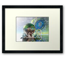 Romantic swans in a sci-fi world Framed Print