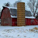 Red Barn With Silo by Sheryl Gerhard