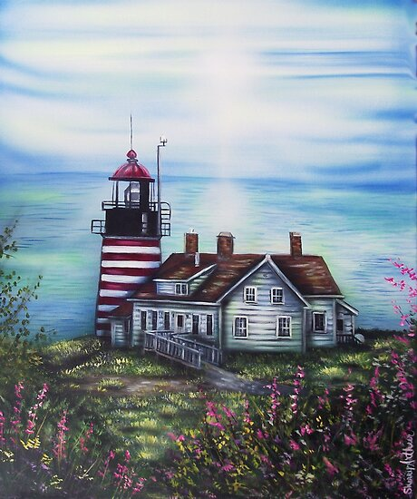 Quoddy Point Lighthouse Is Where I left My Heart by Sherry Arthur
