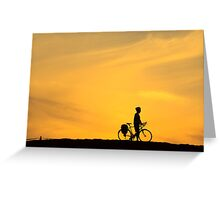 Riding into Sunset Greeting Card