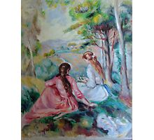 Two girls in a French countryside - Renoir copy Photographic Print