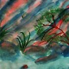 Abstract, Cliffs along waterscape, watercolor by Anna  Lewis