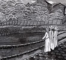 212 - MUNCH'S GIRLS ON A JETTY (INK) by BLYTHART