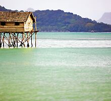 Lonely Wooden House on the Sea by Rasfan  Abu Kassim