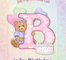 Birthday Bear and Letter B - Poster by SpiceTree
