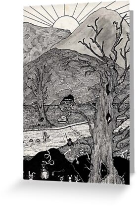63 - CRAZY LANDSCAPE - DAVE EDWARDS - INK - 1983 by BLYTHART