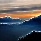 Brilliant mountain sunset in blue by Francesco Malpensi