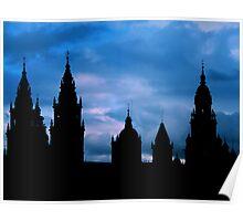 Churches against the sky in Santiago de Compostela Poster