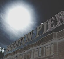 Brighton Pier sign with seagulls by Jasna