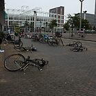 Fallen bicycles by Marcel van Ommeren