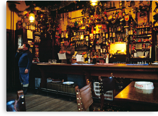 English Pub at Christmas-time, UK. 1980s by David A. L. Davies