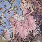 Pink Girl with Rabbits by Deborah Conroy