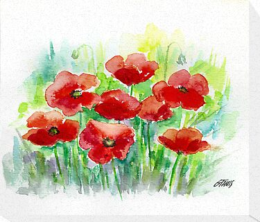 8 POPPIES - AQUAREL by RainbowArt