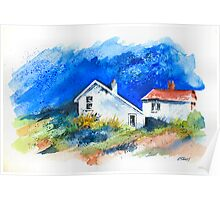 TWO WHITE HOUSES BY THE SEA Poster