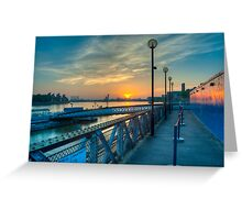 Sunrise at Greenwich Pier: River Thames Greeting Card