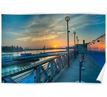 Sunrise at Greenwich Pier: River Thames Poster