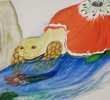 tortoise and frog are friendly by Nora Fraser