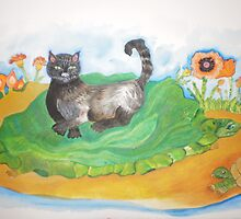 black cat with turtles by Nora Fraser