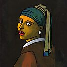 Girl With a Pearl Earring Cell (after Vermeer &amp; M Groening) by Donnahuntriss