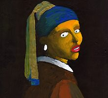 (Reversed) Girl With a Pearl Earring (after Vermeer & M Groening) by Donna Huntriss
