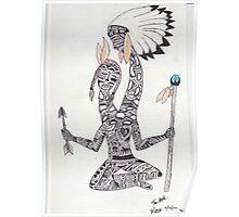 Giraffe Necked Indian Poster