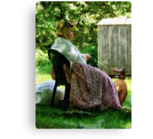 Woman Spinning Wool Canvas Print