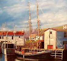 Double Masted Longliner in Quidi Vidi Harbour by RBMcGrathArt